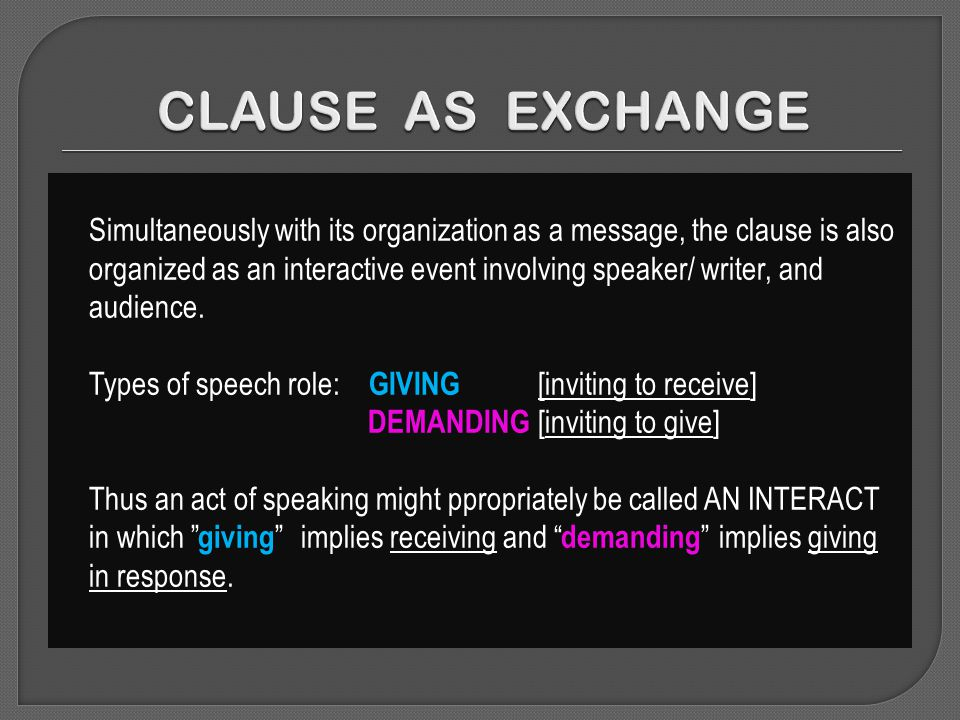 CLAUSE AS EXCHANGE Types of speech role: GIVING [inviting to receive]